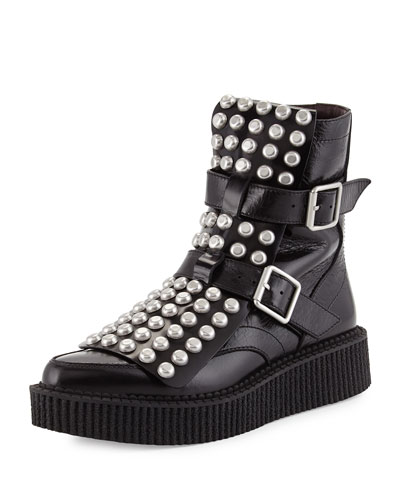 Studded Leather Bowery Boot, Black