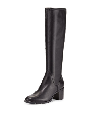 Dima Leather Riding Boot, Black