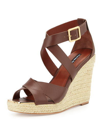 Olympia Leather Espadrille Braided Wedge Sandal, Dark Brown