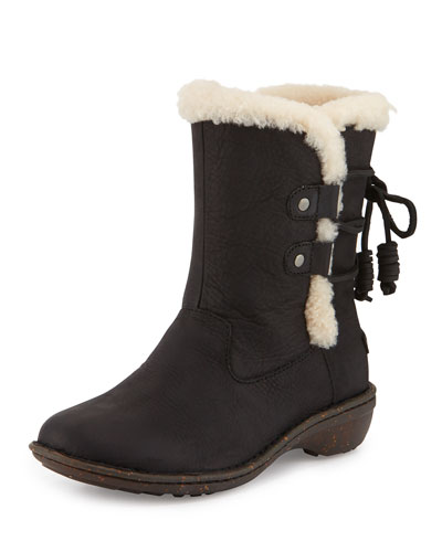 Akadia Back-Laced Fur-Lined Boot, Black
