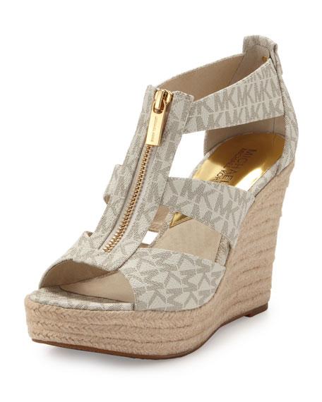 436e42d9527f MICHAEL Michael Kors Damita Logo Zipper Wedge Sandal