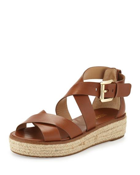 c57cefe6063 MICHAEL Michael Kors Darby Leather Crisscross Sandal