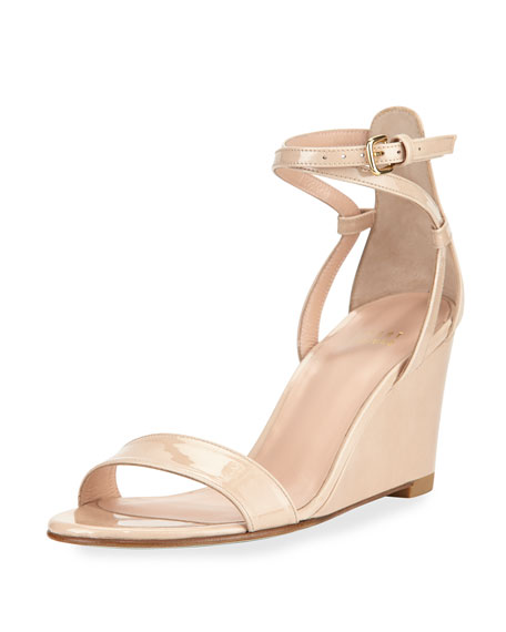 footaction outlet marketable Stuart Weitzman Patent Leather Ankle-Strap Wedges outlet low shipping fee 68Fh90j5