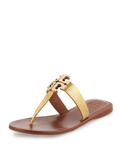 Moore 2 Flat Leather Thong Sandal, Gold