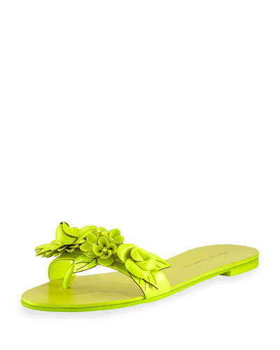 Lilico Floral Slide Sandal, Fluorescent Yellow