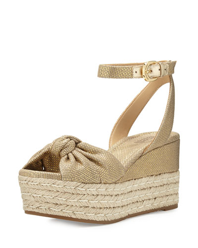 Maxwell Mid-Wedge Sandal, Gold