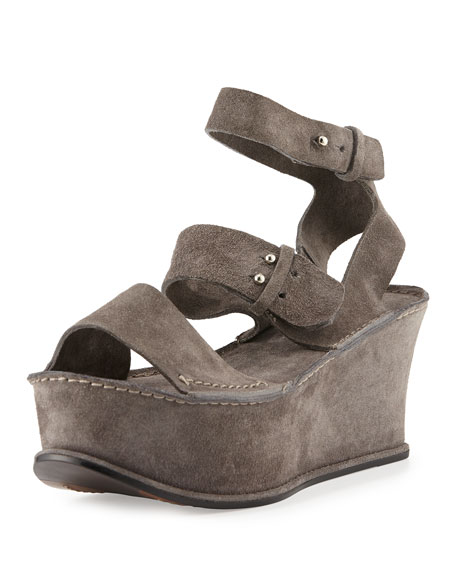 a2c38d7fed4cdc Costume National Open-Toe Suede Flatform Sandal