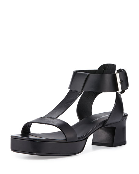850c4c4f79982 Costume National Open-Toe T-Strap Leather Sandal