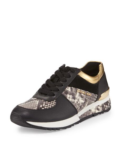 61a1081adaf MICHAEL Michael Kors Allie Mixed-Media Trainer Sneaker, Natural/Black