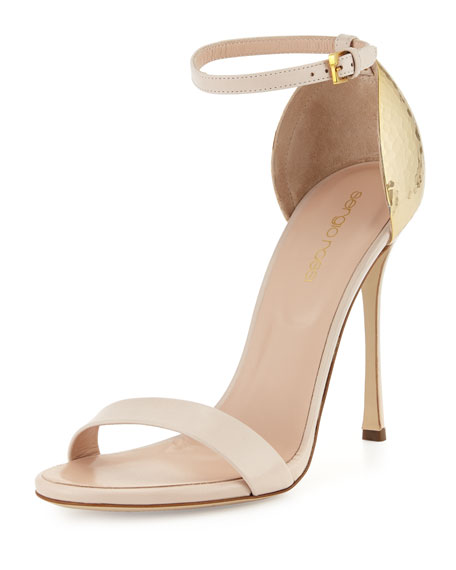 Heel Sandal Powder Hammered Strappy ZiuTwPkXlO
