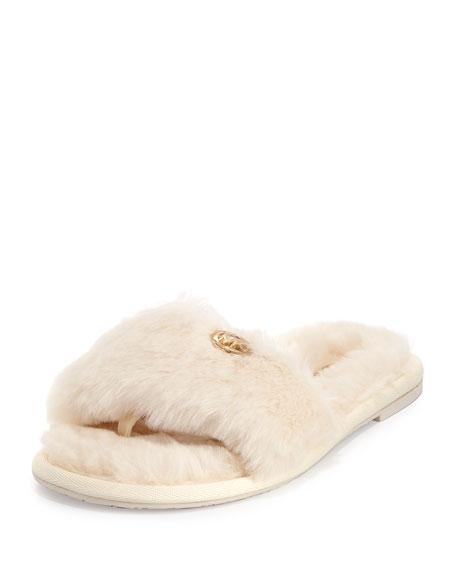 c17b5b60148e MICHAEL Michael Kors Jet Set Faux-Fur Slide Sandal