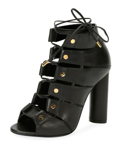 Lace-Up Leather Open-Toe 105mm Bootie, Black