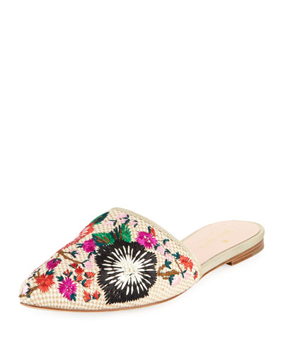 monteclair embroidered flat mule