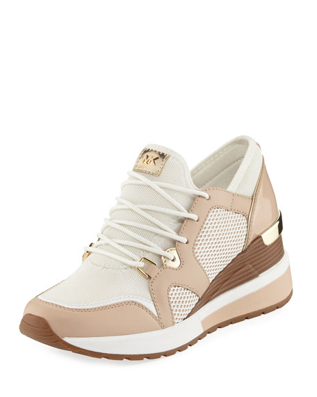Scout Mixed Mesh Wedge Trainer Sneaker White Oyster