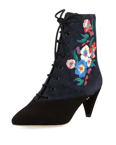 Cassidy Embroidered Lace-Up 45mm Bootie