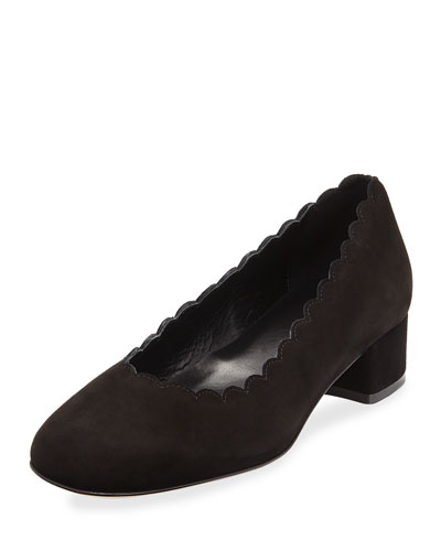 Hali Scallop Suede Pump, Black