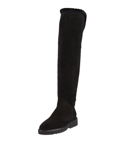 Kiara Over-The-Knee Suede Boot with Shearling