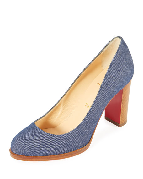 London Buche Block-Heel Denim Red Sole Pump