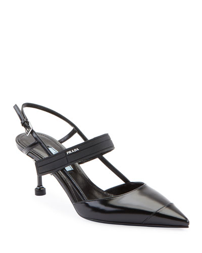 Colorblock Leather Slingback Pump