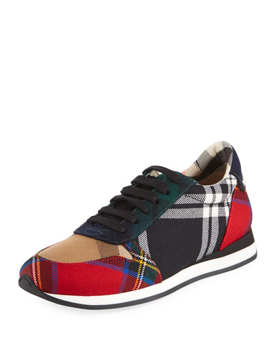 Amelia Tar Tartan Trail Sneaker, Black/Bright Red