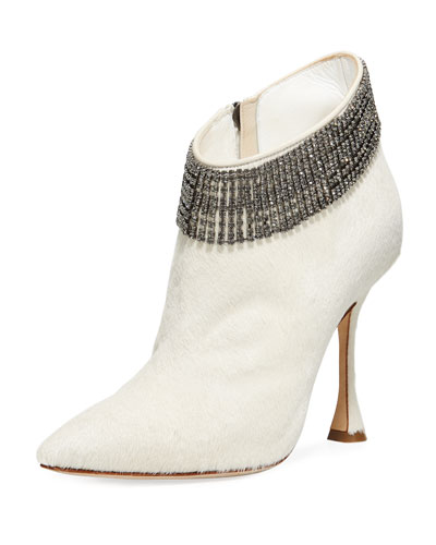 Bomabi Calf Hair and Crystal Bootie
