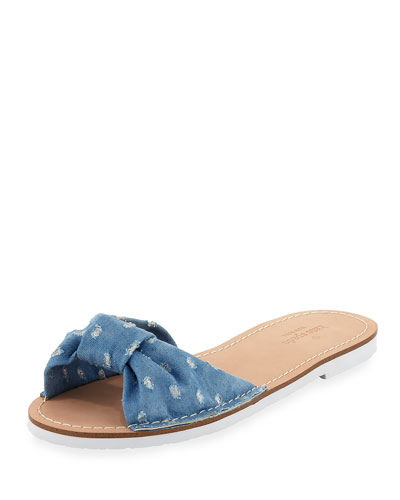 indi fabric floral slide sandal, light blue