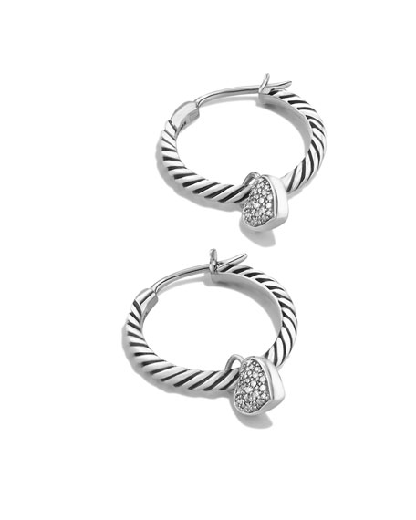 Cable Heart Hoop Earrings with Diamonds