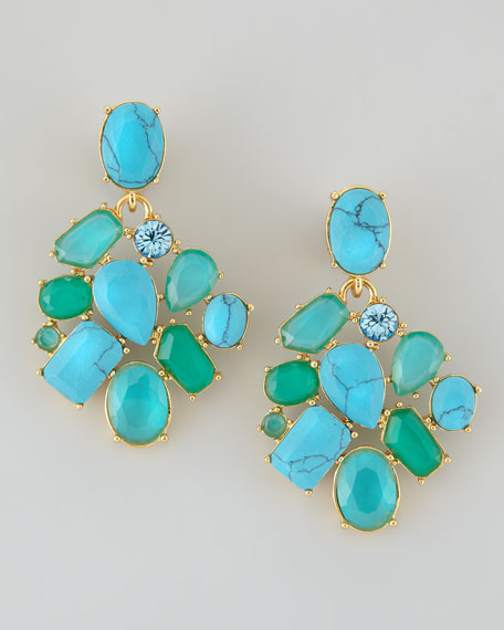 Crystal Cer Bib Clip Earrings Turquoise
