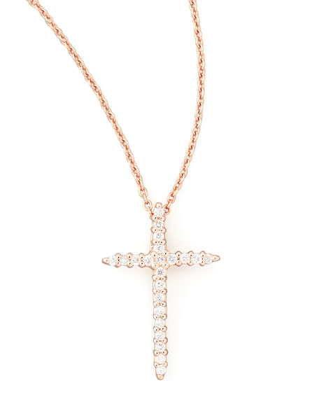 Roberto coin 18k rose gold diamond cross necklace 18k rose gold diamond cross necklace aloadofball Image collections