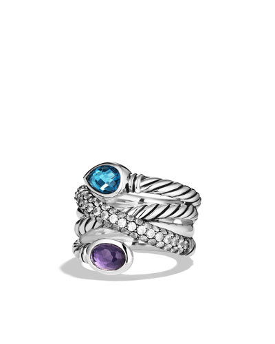 Ultramarine Crossover Ring with Hampton Blue Topaz, Black Orchid, and Gray Sapphires