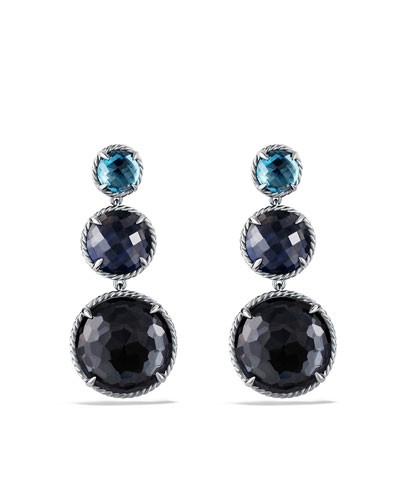 Chatelaine Triple-Drop Earrings with Black Orchid, Blue Sapphire and Hampton Blue Topaz