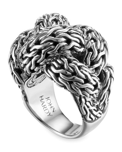 Classic Chain Silver Braided Ring, Large