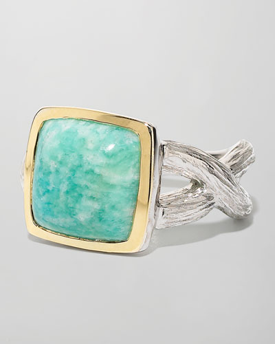 Cushion-Cut Amazonite Ring