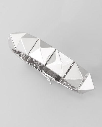 Large Pyramid Bracelet, Silver Plate