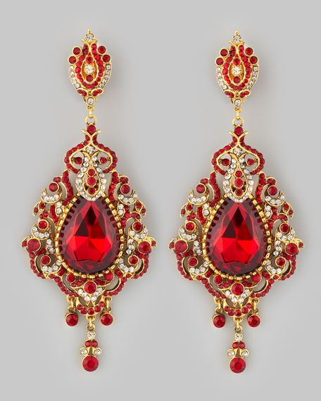 Jose maria barrera teardrop chandelier clip earrings red aloadofball