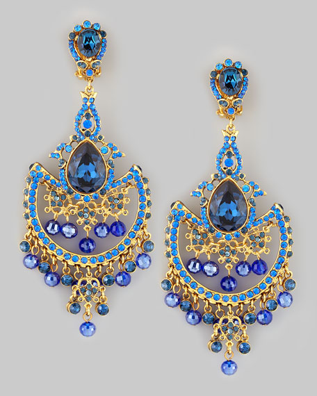 Jose maria barrera draped crystal chandelier clip earrings blue draped crystal chandelier clip earrings blue aloadofball Image collections