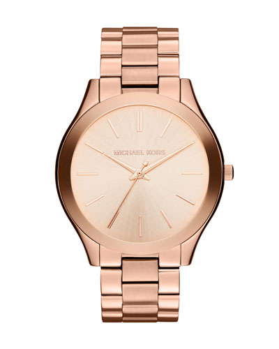 Mid-Size Rose Golden Stainless Steel Runway Three-Hand Watch