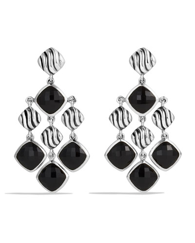 Sculpted Cable Chandelier Earrings with Black Onyx