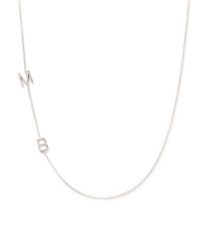 Mini 2-Letter Personalized Necklace, 14k White Gold