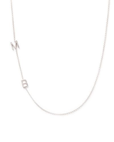 Mini 2-Letter Personalized Necklace, 14k White Gold