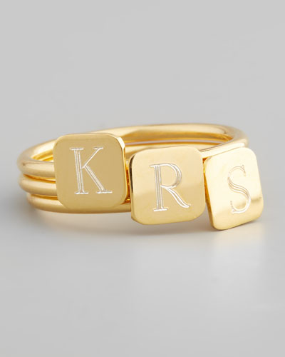 Gold Letter-Engraved Square Ring