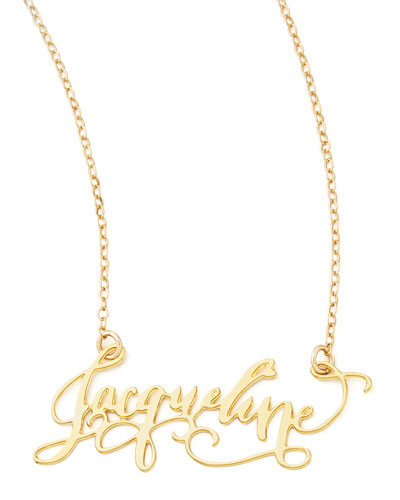 Personalized Gold-Plate Calligraphy Necklace