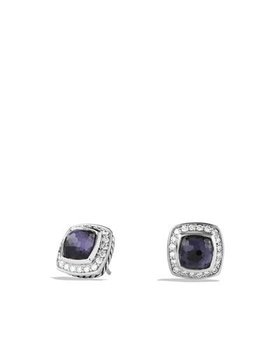 Petite Albion Earrings with Black Orchid and Diamonds