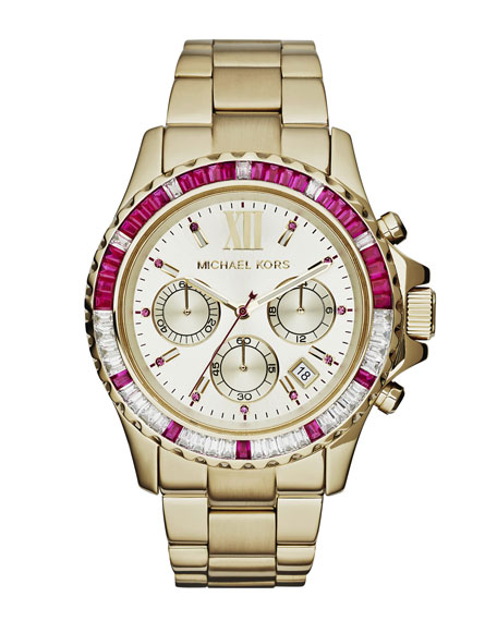4bef3be2fcb6 Michael Kors Mid-Size Golden Stainless Steel Everest Chronograph Glitz Watch