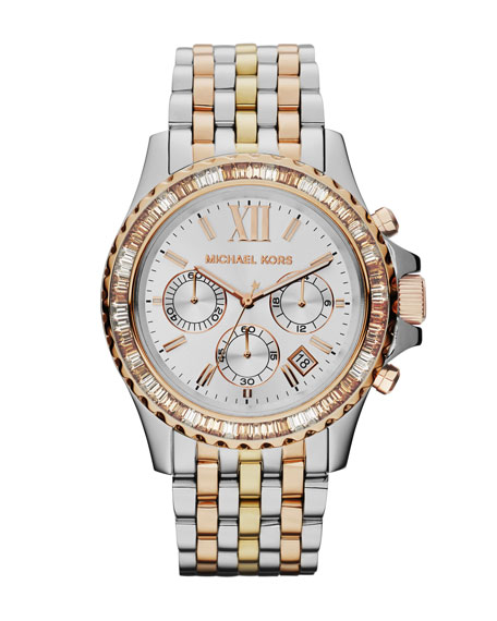 ba434e7910c3 Michael Kors Mid-Size Tri-Tone Stainless Steel Everest Chronograph Glitz  Watch