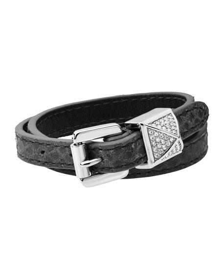 Michael Kors Crystallized Pyramid Belt Bracelet Silver Color