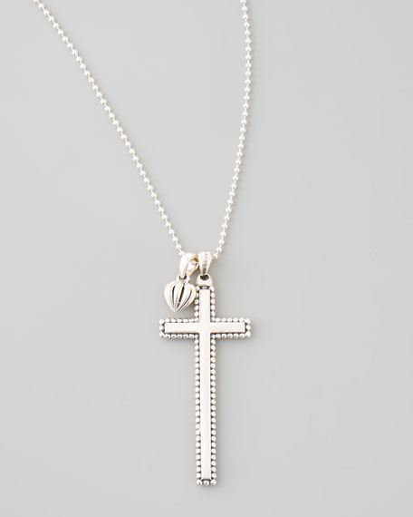 Lagos caviar trim cross heart pendant necklace caviar trim cross heart pendant necklace mozeypictures Images