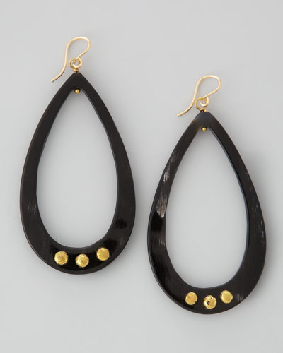 Chozi Horn Teardrop Earrings, Dark Horn