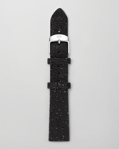 18mm Crystal-Covered Leather Strap, Black