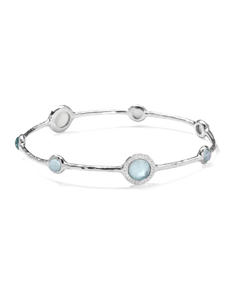 Ippolita Stella Sterling Silver Bangle in Blue Topaz with Diamonds iBHlPjeTA